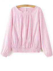 Long Sleeve Striped Blouson Top - PINK M