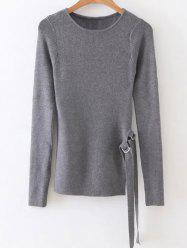 Round Neck Ribbed Sweater -
