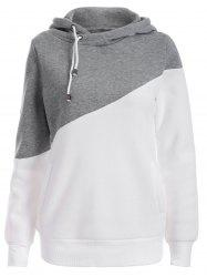 Pullover Drawstring Color Block Hoodie - GRAY