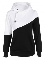 Pullover Drawstring Color Block Hoodie - BLACK