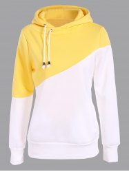 Pullover Drawstring Color Block Yellow Hoodie - YELLOW