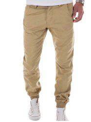 Zipper Fly Big and Tall Chino Jogger Pants - KHAKI 2XL