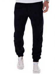 Zipper Fly Big and Tall Chino Jogger Pants - BLACK XL
