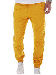Zipper Fly Big and Tall Chino Jogger Pants - YELLOW