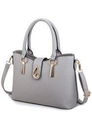 Textured Leather Twist-Lock Metal Tote Bag