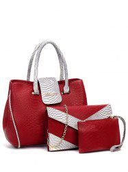 Metal Color Spliced Embossed Tote Bag - WINE RED