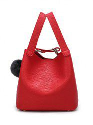 Textured Leather Magnetic Closure Metallic Tote Bag - RED