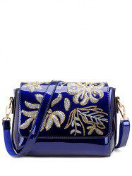 Magnetic Closure Sequins Flower Pattern Crossbody Bag -