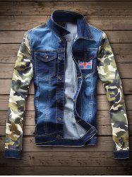 Single Breasted Camouflage Flag Pattern Denim Jacket