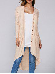 Asymmetric Long Cardigan with Pockets -