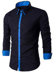 Single Breasted Long Sleeve Spliced Design Shirt -
