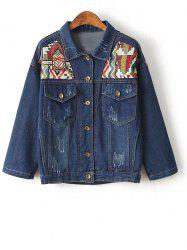 Embroidered Yoke Jeans Jacket -