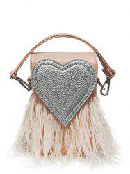 Heart Pattern Fringe Color Block Handbag - PINK