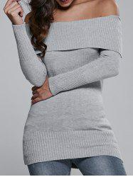 Off The Shoulder Fitted Mini Sweater Dress - GRAY ONE SIZE