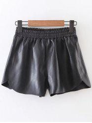 Elastic Waist PU Leather Shorts - BLACK
