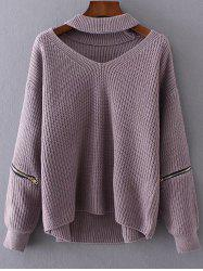 Chunky Choker Sweater - LIGHT PURPLE