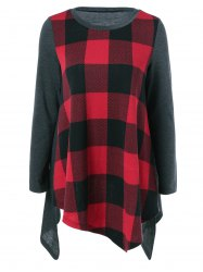 Plaid Asymmetrical Blouse -
