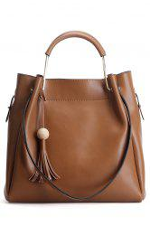 Tassel Metallic Handle Leather Handbag - BROWN