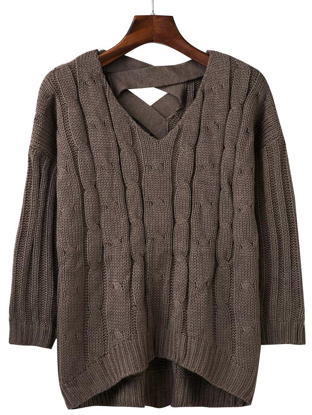 Cheap Loose Criss Cross Cable Knitted Sweater
