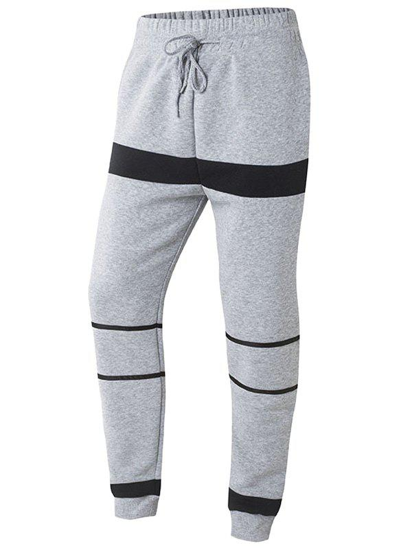 Striped Color Splicing Beam Feet Drawstring Jogger Pants Серый S
