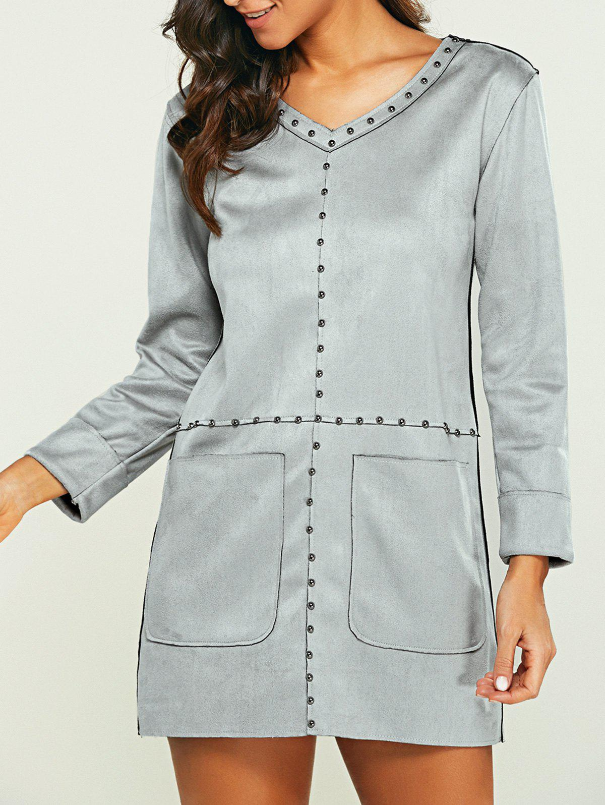 Outfit Pocket Design Faux Suede Long Sleeve Shift Dress