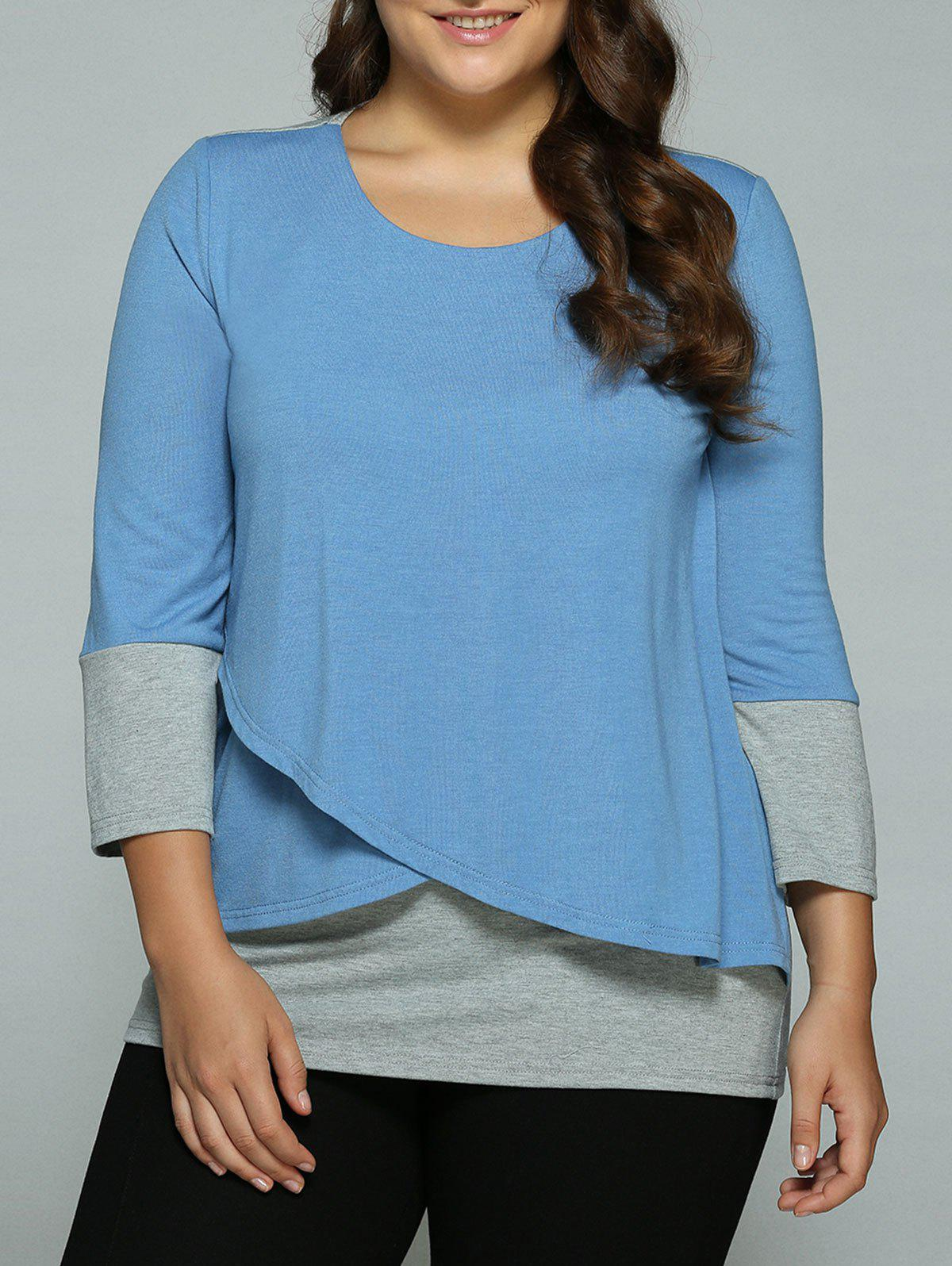 Plus Size Overlay Spliced BlouseWOMEN<br><br>Size: 2XL; Color: BLUE+GRAY; Material: Polyester,Spandex; Shirt Length: Long; Sleeve Length: Three Quarter; Collar: Scoop Neck; Style: Casual; Season: Fall,Spring,Summer; Pattern Type: Patchwork; Weight: 0.400kg; Package Contents: 1 x Blouse;