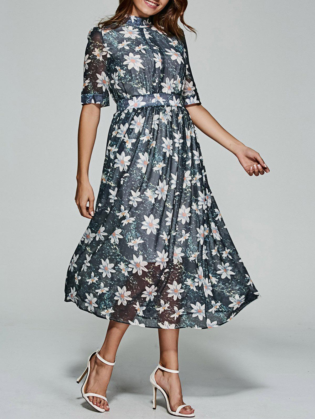 Store Floral Print Tea Length Chiffon Dress