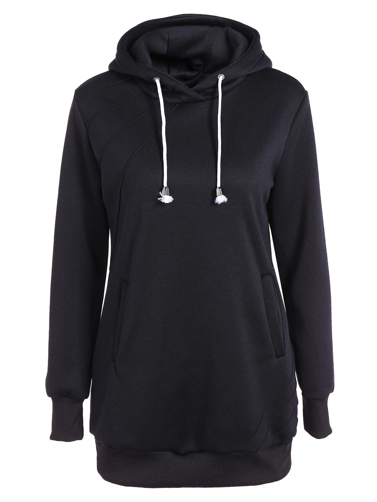Cheap Pleated Pullover Long Hoodie