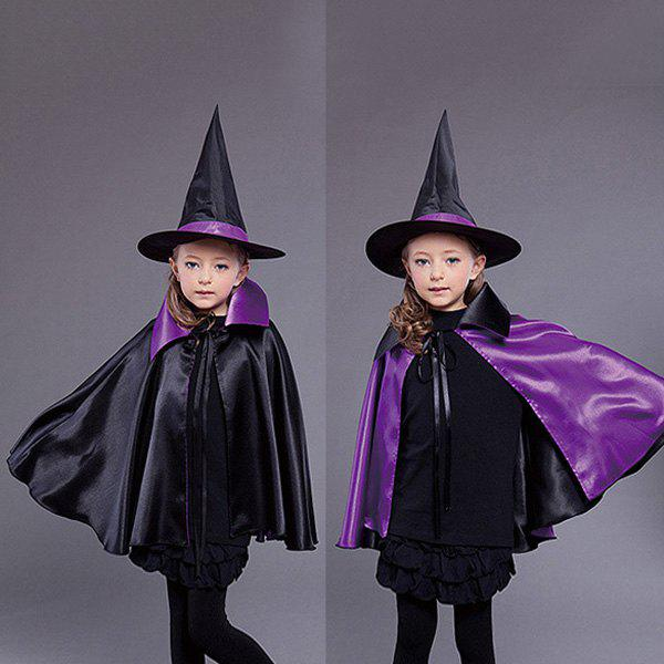 Halloween Kids Cosplay Witch Cloak Hat Costume SetHOME<br><br>Color: BLACK AND PURPLE; Event &amp; Party Item Type: Other; Occasion: Halloween; Length: 70CM; Weight: 0.320kg; Package Contents: 1 x Clothes Set;