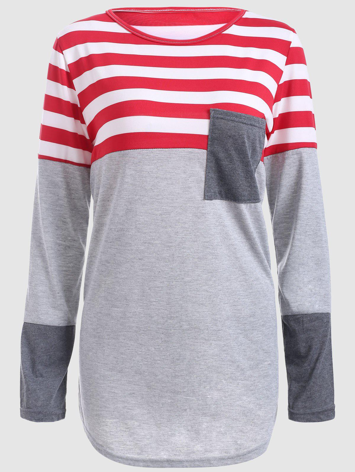 Striped Color Block Plus Size T-ShirtWOMEN<br><br>Size: 2XL; Color: GRAY; Material: Cotton Blends,Polyester; Shirt Length: Long; Sleeve Length: Full; Collar: Jewel Neck; Style: Casual; Season: Fall,Spring; Pattern Type: Striped; Weight: 0.400kg; Package Contents: 1 x T-Shirt;