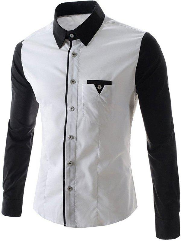 New One Pocket Design Long Sleeves Slimming Shirt