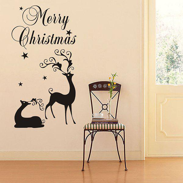 Merry Christmas Deers Removeable Window Glass Wall StickerHOME<br><br>Color: BLACK; Wall Sticker Type: Plane Wall Stickers; Functions: Decorative Wall Stickers; Theme: Christmas; Material: PVC; Feature: Removable,Washable; Size(L*W)(CM): 57*45; Weight: 0.281kg; Package Contents: 1 x Wall Sticker;