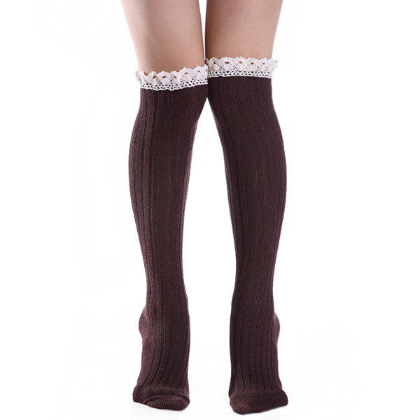 Buy Knit Ribbed Stockings with Lace Trim