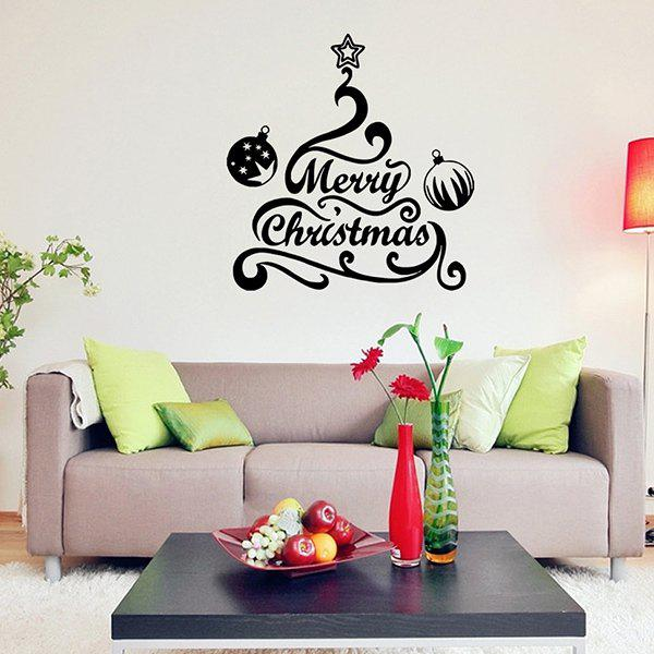 Merry Christmas Bell Removeable Window Glass Wall StickerHOME<br><br>Color: BLACK; Wall Sticker Type: Plane Wall Stickers; Functions: Decorative Wall Stickers; Theme: Christmas; Material: PVC; Feature: Removable,Washable; Size(L*W)(CM): 57*57; Weight: 0.410kg; Package Contents: 1 x Wall Sticker;