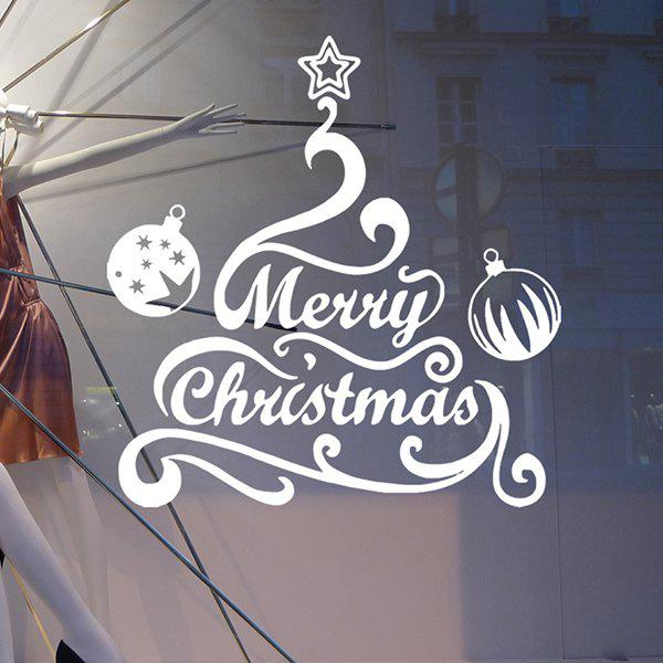 Merry Christmas Bell Removeable Window Glass Wall StickerHOME<br><br>Color: WHITE; Wall Sticker Type: Plane Wall Stickers; Functions: Decorative Wall Stickers; Theme: Christmas; Material: PVC; Feature: Removable,Washable; Size(L*W)(CM): 57*57; Weight: 0.410kg; Package Contents: 1 x Wall Sticker;