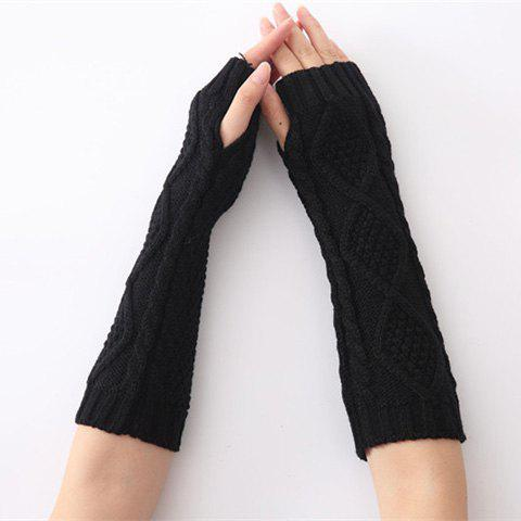 Christmas Winter Rhombus Crochet Knit Arm WarmersACCESSORIES<br><br>Color: BLACK; Group: Adult; Gender: For Women; Style: Fashion; Glove Length: Elbow; Pattern Type: Solid; Material: Spandex; Weight: 0.063kg; Package Contents: 1 x Arm Warmers(Pair);
