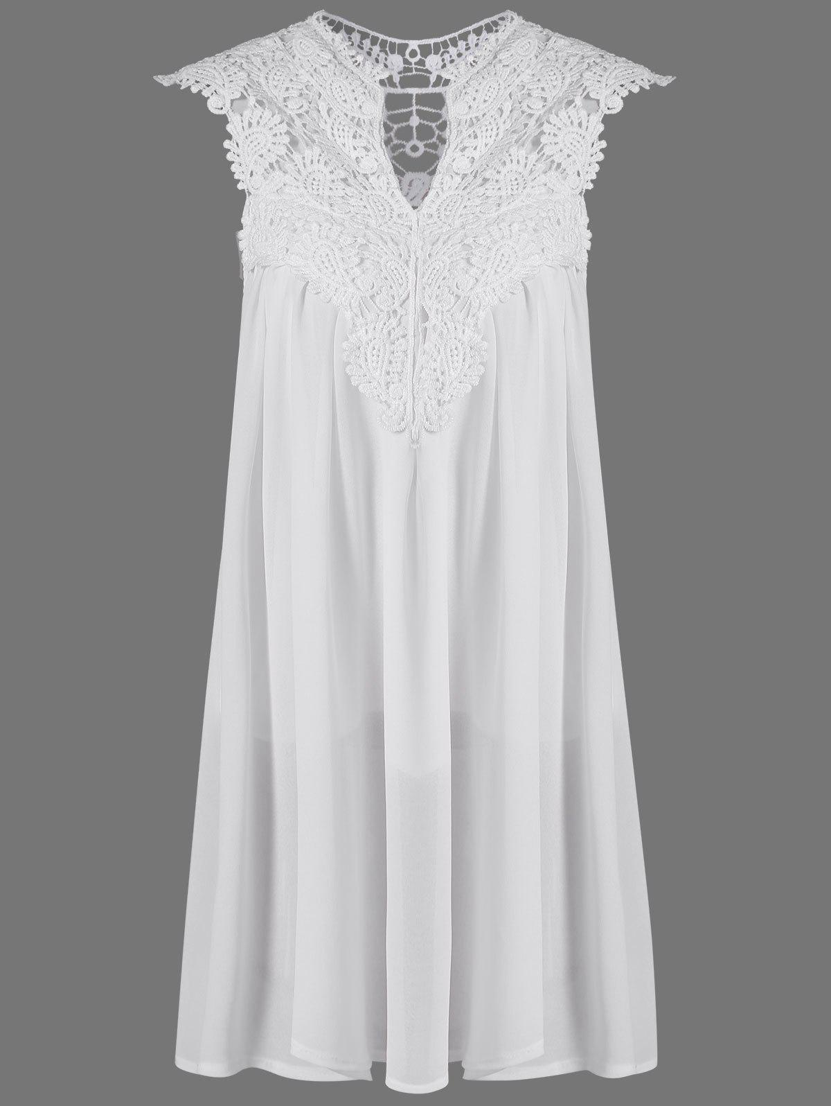 24bcb4ad10c 2018 Crochet Lace Insert Short Sleeveless Ruched Dress In White M ...