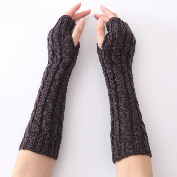 Christmas Winter Hemp Flowers Crochet Knit Arm WarmersACCESSORIES<br><br>Color: DEEP GRAY; Group: Adult; Gender: For Women; Style: Fashion; Glove Length: Elbow; Pattern Type: Solid; Material: Spandex; Weight: 0.069kg; Package Contents: 1 x Arm Warmers(Pair);