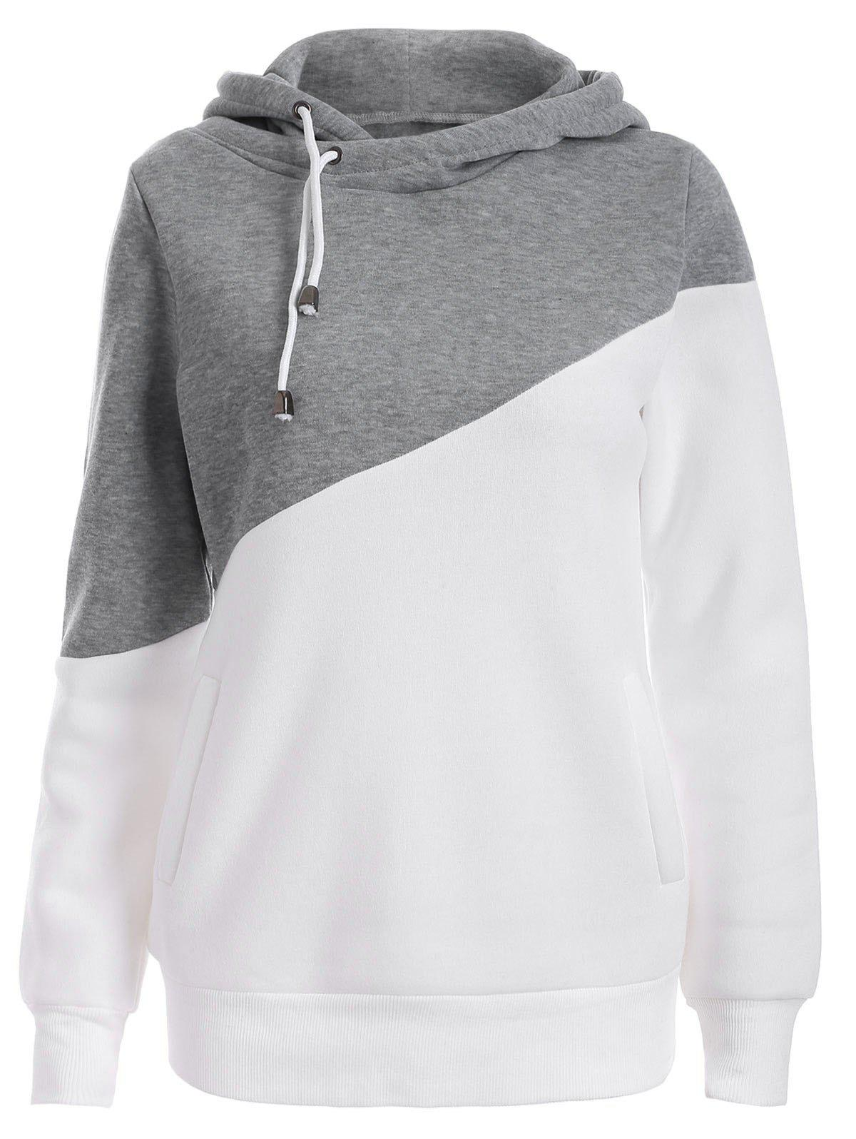 Pullover Drawstring Color Block HoodieWOMEN<br><br>Size: 2XL; Color: GRAY; Material: Polyester; Shirt Length: Regular; Sleeve Length: Full; Style: Casual; Pattern Style: Solid; Season: Fall,Spring; Weight: 0.420kg; Package Contents: 1 x Hoodie;