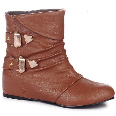 Shops Double Buckle PU Leather Ruched Short Boots