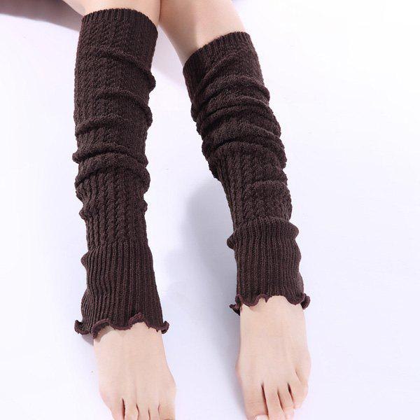 Christmas Winter Small Hemp Flowers Knit Leg WarmersACCESSORIES<br><br>Color: COFFEE; Type: Leg Warmers; Group: Adult; Gender: For Women; Style: Fashion; Pattern Type: Solid; Material: Spandex; Length(CM): 50CM; Weight: 0.150kg; Package Contents: 1 x Leg Warmers(Pair);