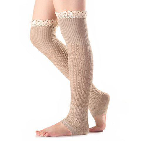 Christmas Winter Lace Edge Knit Footstep Leg WarmersACCESSORIES<br><br>Color: LIGHT KHAKI; Type: Leg Warmers; Group: Adult; Gender: For Women; Style: Fashion; Pattern Type: Solid; Material: Spandex; Length(CM): 58CM; Width(CM): 10CM; Weight: 0.100kg; Package Contents: 1 x Leg Warmers(Pair);