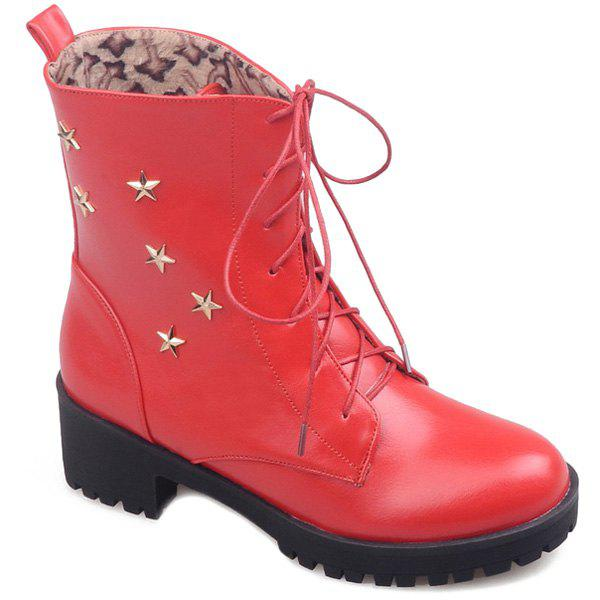 Best Chunky Heel Star Embellished Combat Boots
