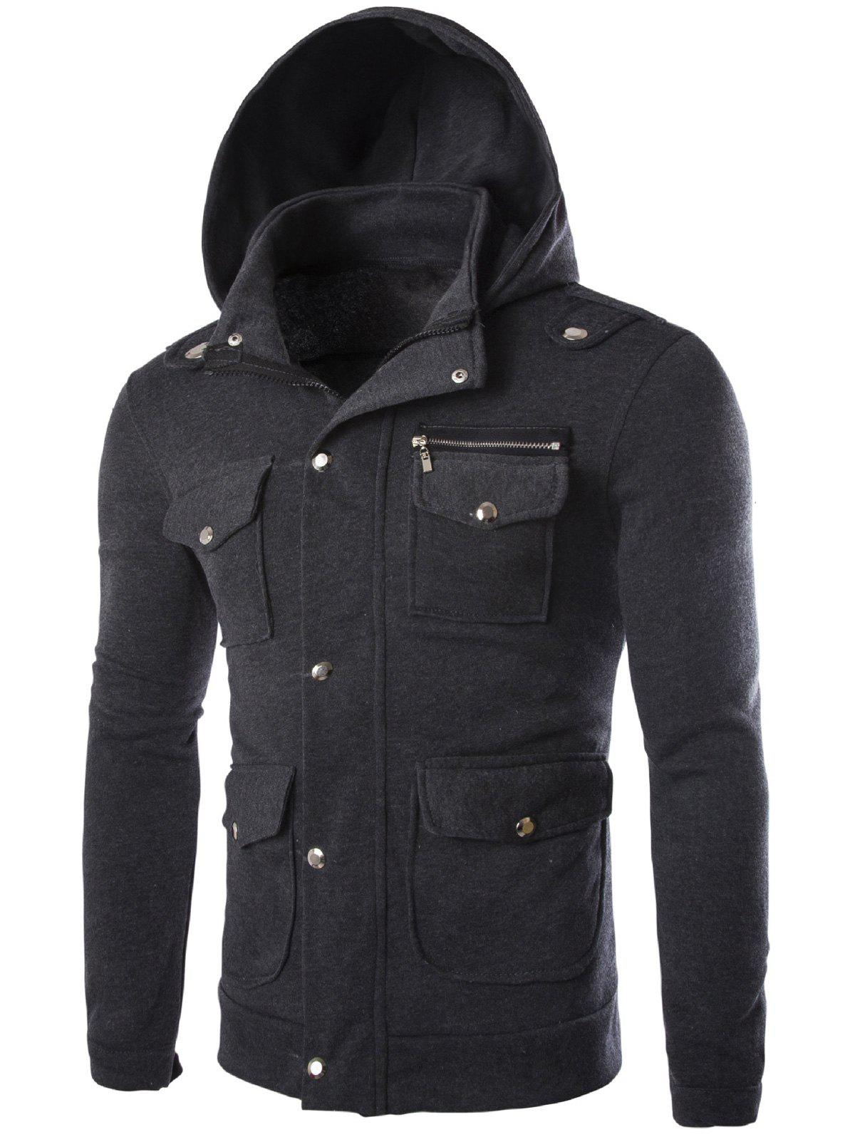 Outfits Long Sleeve Pocket and Zipper Design Hooded Jacket