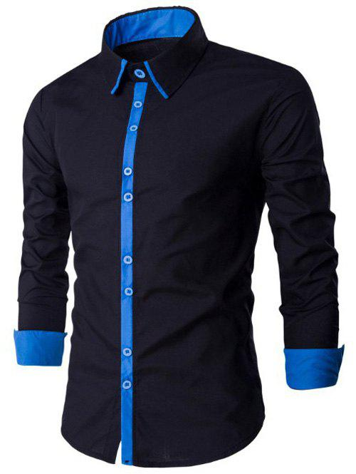 Shop Single Breasted Long Sleeve Spliced Design Shirt