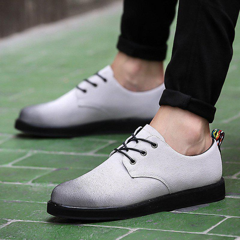 Fashion Suede Tie Up Color Spliced Casual Shoes