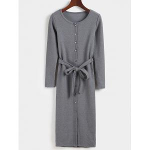 Belted Button Down Long Sleeve Bodycon Dress
