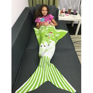 Snowflakes and Santa Claus Pattern Knitting Christmas Mermaid Blanket - Green - M