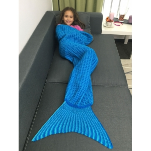 Warmth Geometric Design Knitted Kid's Mermaid Tail Blanket