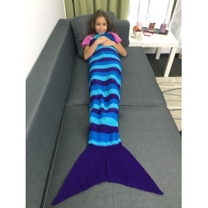 Acrylic Knitted Openwork Design Striped Mermaid Tail Blanket